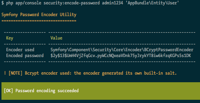 Symfony encoded password