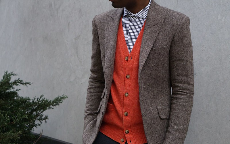 orange cardigan spring brown tweed blazer