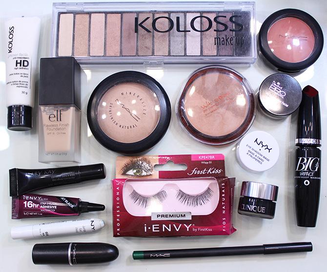 7-produtos usados maquiagem neutra com lápis verde e batom rosa