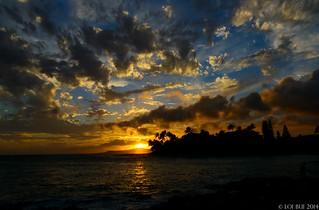 Sunset in Poipu, Kauai, Hawaii.
