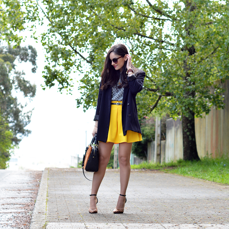 Zara_ootd_outfit_yellow_animal_print_blazer_01