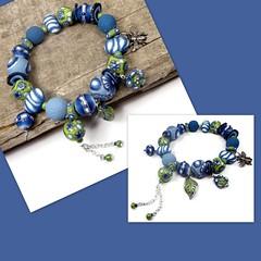 polymer clay Denim Blue Beaded Bracelet