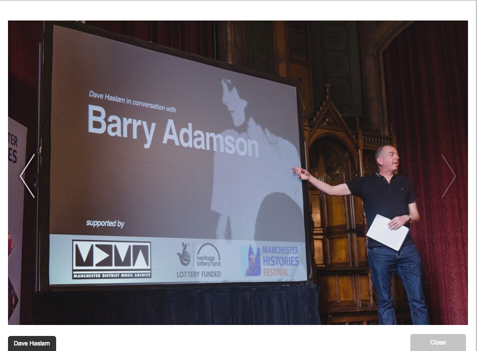 Photo by Drew Forsyth: Dave Haslam introduces Barry Adamson, 2014