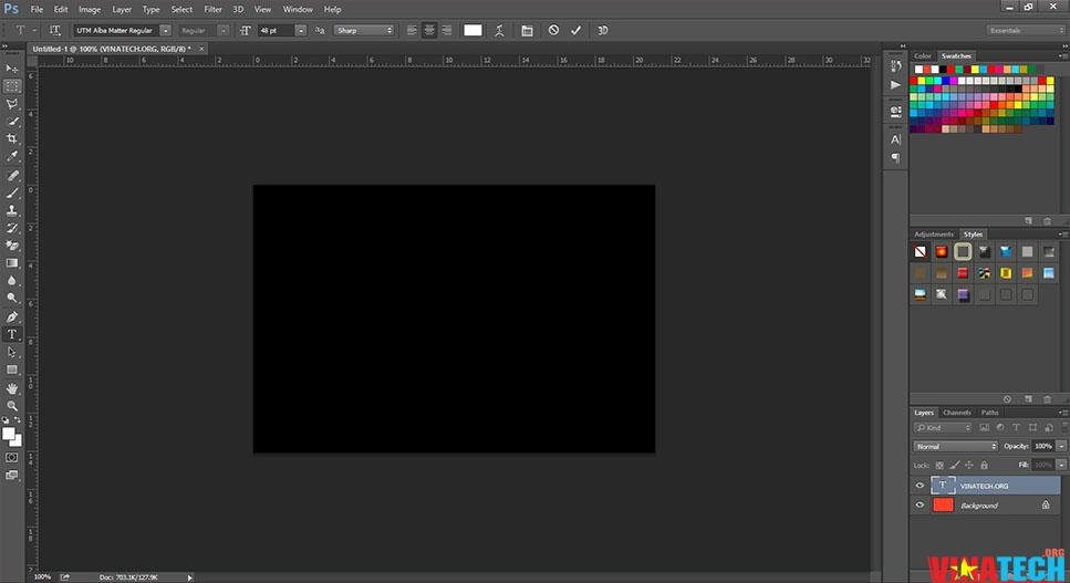 Khắc phục màn hình đen khi viết chữ trên Photoshop
