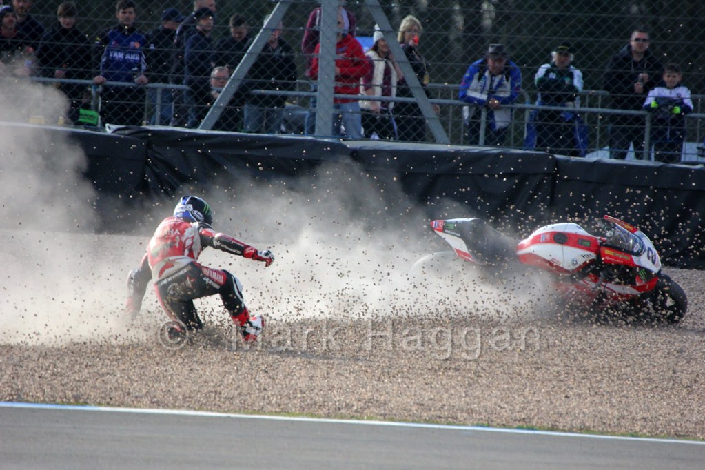 Broc Parkes takes a tumble during the BSB Weekend at Donington Park, April 2015