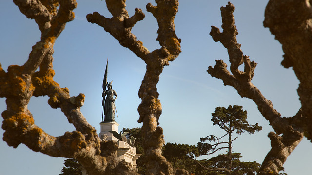 Francis Scott Key Monument peering through the trees in Golden Gate