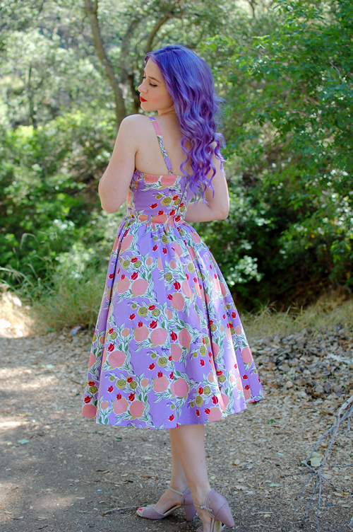 Pinup Girl Clothing Ella dress in Mary Blair Lips and Roses print in Lavender