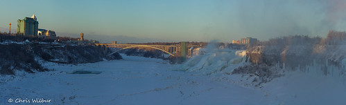 new york winter sunset panorama mist snow ontario ice evening frozen downtown niagara falls