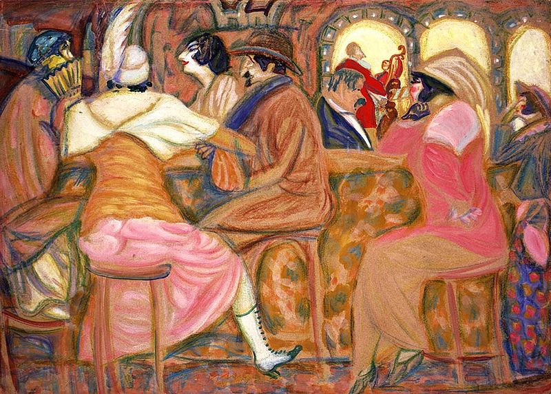 In A Paris Cafe by Boris Grigoriev, 1914