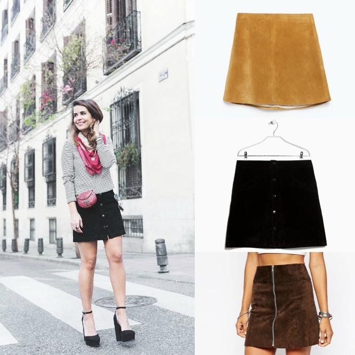 falda suede collage vintage