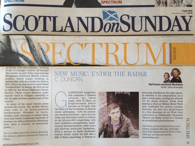 Olaf Furniss and Derick Mackinnon Scotland On Sunday, Spectrum Magazine 05 April 2015, C Duncan