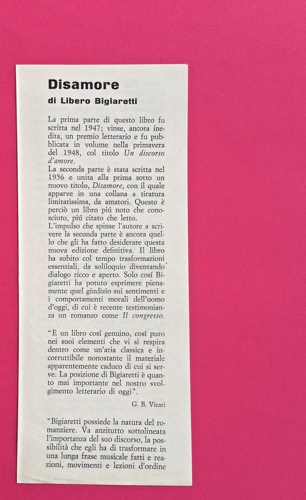 Disamore, di Libero Bigiaretti. Bompiani 1964. [Responsabilità grafica non indicata]. Scheda editoriale presente fra le pagine, pag. 1 (part.), 1