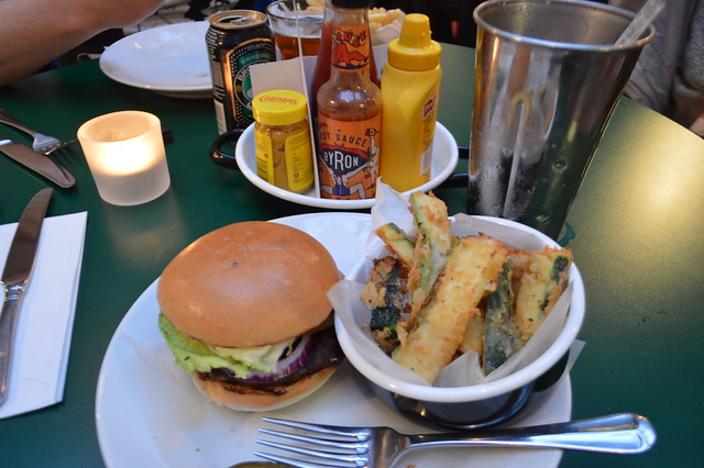 This is a photo of Byron burger in York, a milkshake and courgette fries.