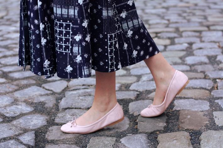 patchwork print midi dress, Sam Edelman Felicia ballet flats