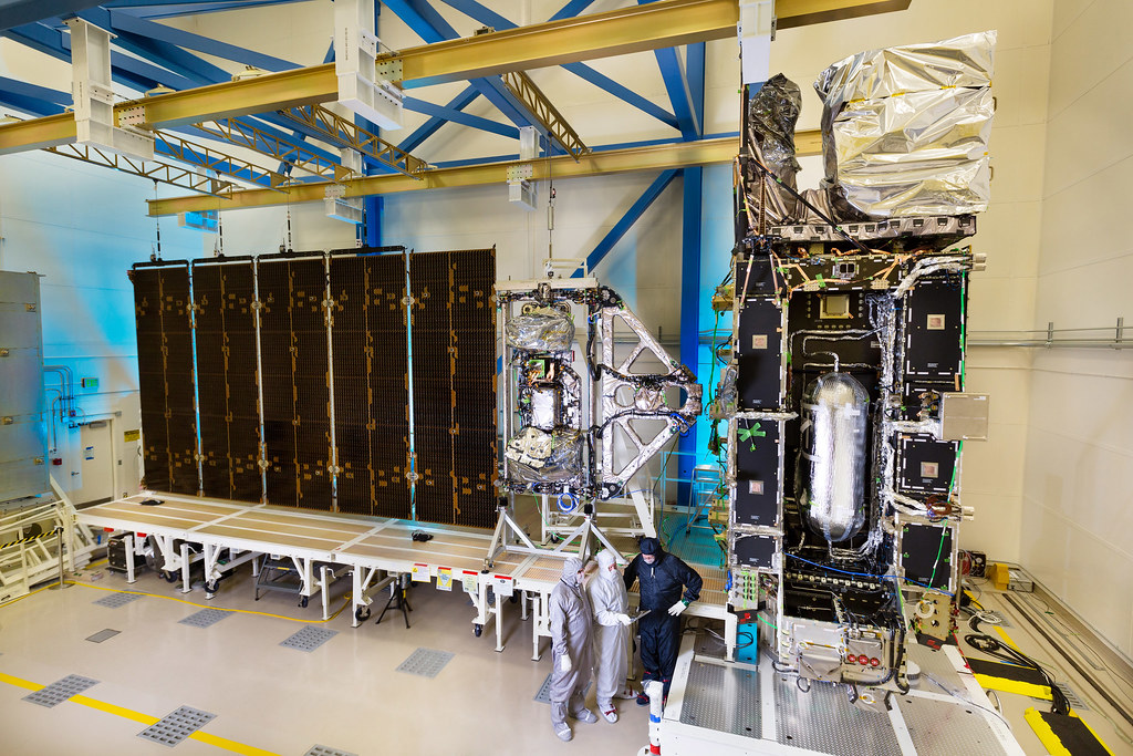 Assembled and integrated GOES-R satellite in the clean room