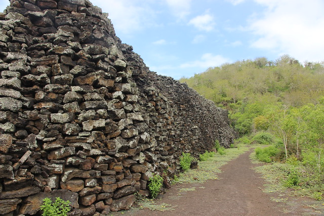 A huge wall built of coral by prisoners in the Galapagos Islands