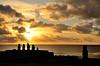 Sunset in Ahu Tahai. Easter Island