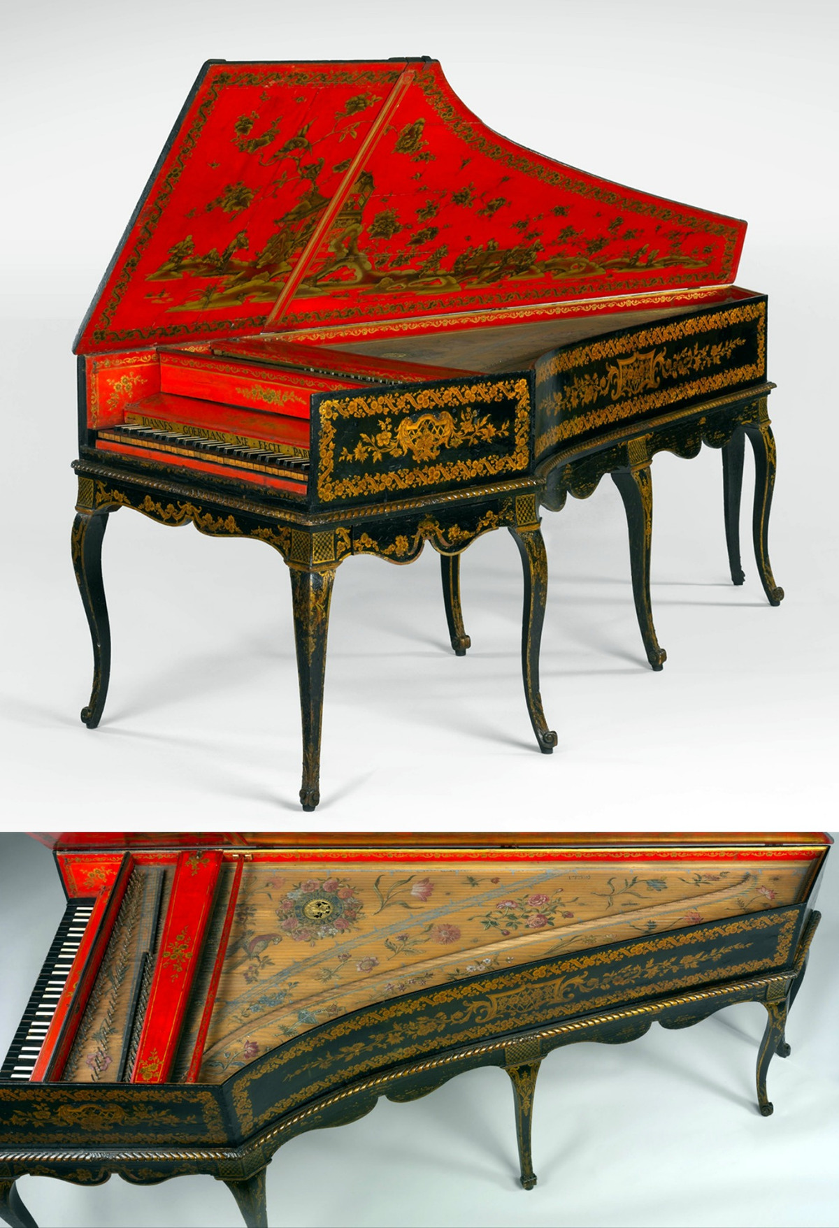 1754 Harpsichord converted to a piano. French. Wood, paint, gilding, polychrome, gilded pewter, ebony, bone, felt. metmuseum