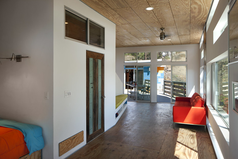 Recycled Plywood Floors and Ceiling