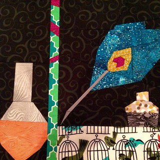 Loving the Peacock Quill and swirly ink and potion bottles!  Row three is finished!  #projectofdoom #pod2015 @sewhookedjen #fandominstitches #block15 #peacock #quill #potions #potterhead #harrypotter #hogwarts #snapesnapeseverussnape #turntopage394 #caged
