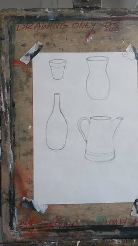 Pencil drawing, plant pot, vase, bottle, jug