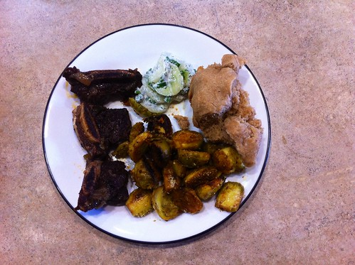 Our first meal to cook as a married couple. <3 Braised short ribs, Brussels sprouts, cucumber salad, and rosemary focaccia.