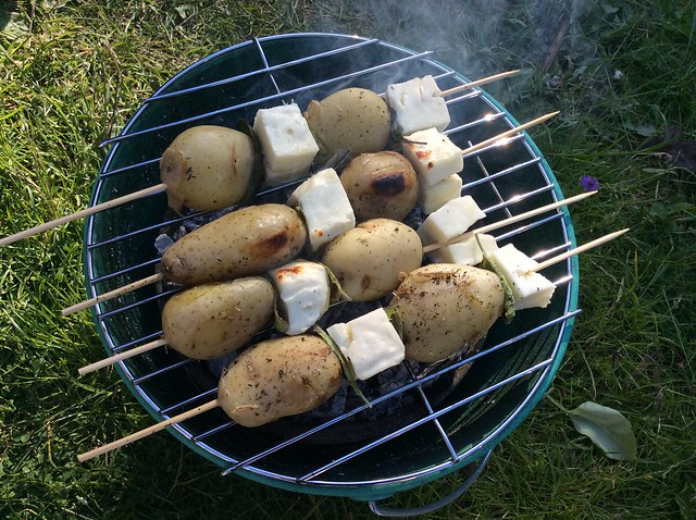 New potato and halloumi kebabs