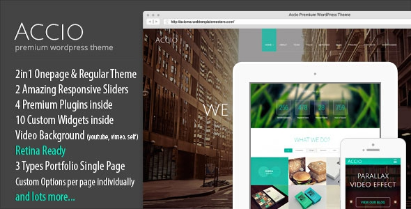Accio v1.1.8 – One Page Parallax Responsive WordPress Theme