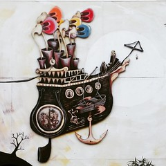Piscator's Final Voyage  (I have had so much trouble photographing this mural, the sun's always behind it.)   #LachlanPlain #mural #streetart #streetart_daily #streetarteverywhere #bulleenartandgarden  @bolingallery