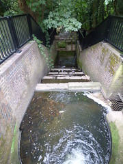 Kings Norton Local Nature Reserve - guillotine lock and stream to the River Rea
