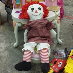 Spotted at @austingoodwill,  a lovely, entirely handmade Raggedy Ann doll.