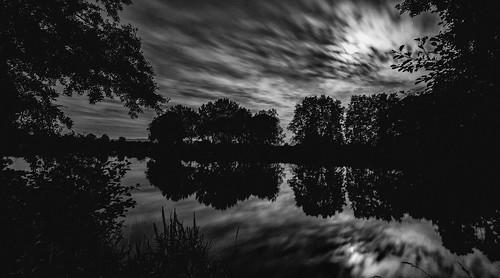 black and white at night