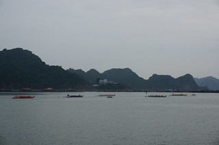 The boats line up for the start