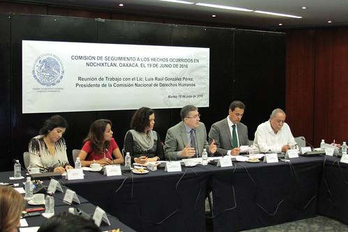 El día 19 de julio del 2016 se llevó a cabo en el Senado de la República la reunión de trabajo de la Comisión de seguimiento a los hechos ocurridos en Nochixtlán, Oaxaca con Luis Raúl González Pérez, Presidente de la Comisión Nacional de Derechos Humanos.