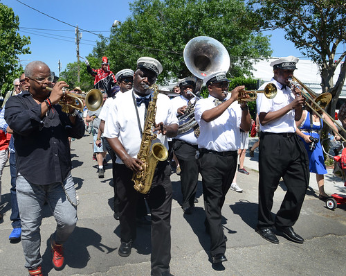 2015 Terence Blanchard leading parade to the festival grounds on International Jazz Day. Photo by Leon Morris.
