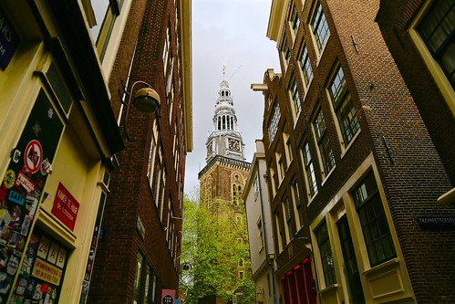 The clock tower of Oude Kerk, Amsterdam