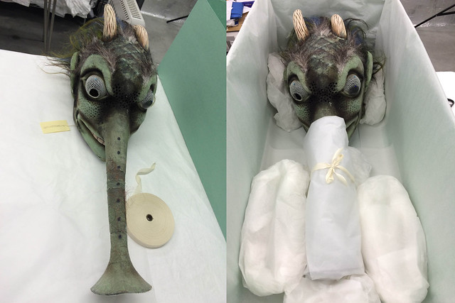 Monster headdress before and after its packing in a bespoke archival box © 2015 ROH