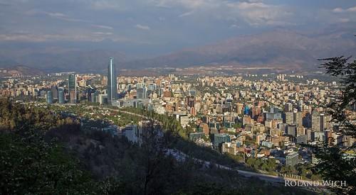chile santiago america de san chili view south hill du vista overlook sud ud amérique christobal südamerica