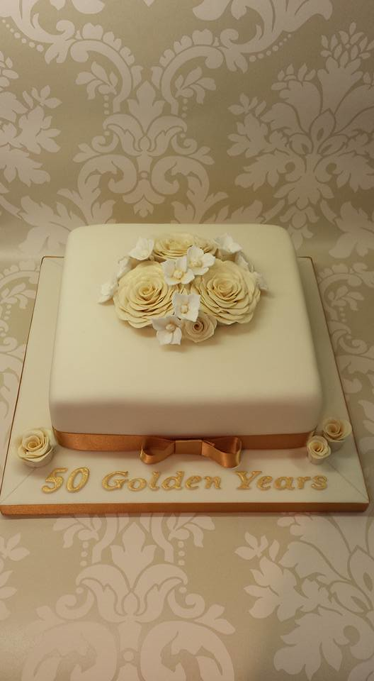 Golden Anniversary Cake by Beverley Fellows at Bake-a-Cake