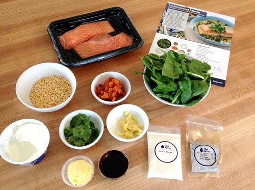 blue apron meals with recipe card
