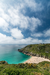View of Porthcurno beach Cornwall