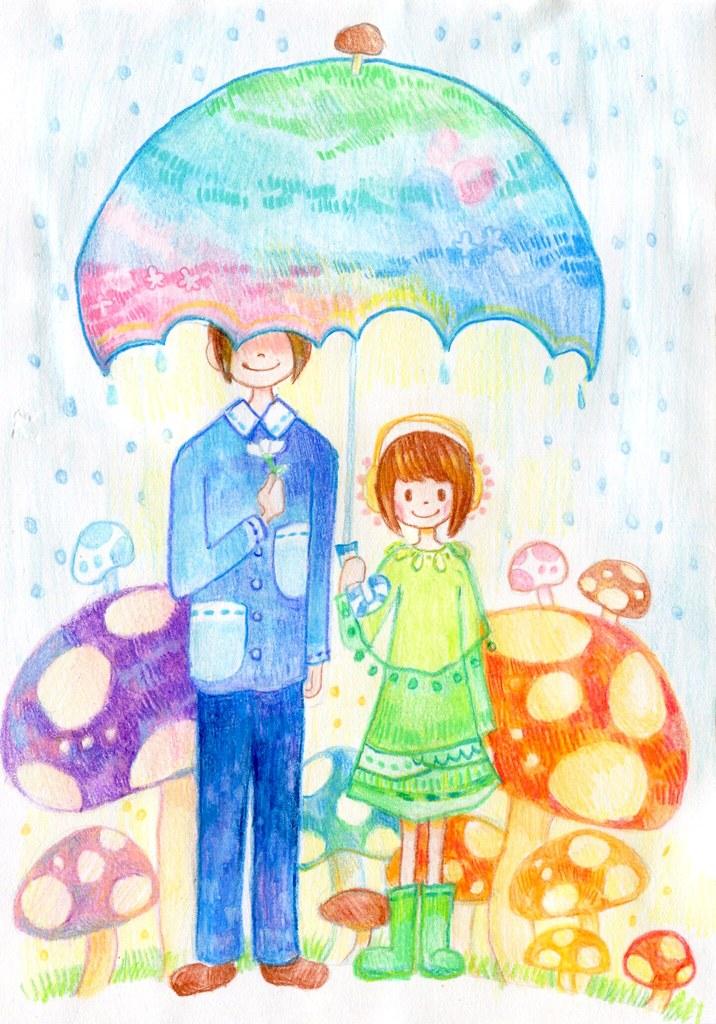 害羞先生與我在蘑菇園下雨天的合照