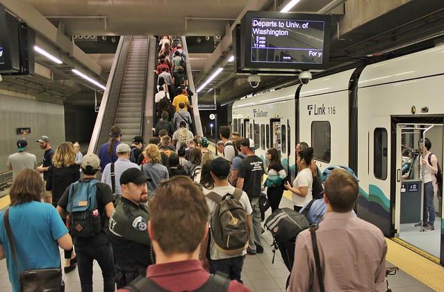 Escalator queue at Capitol Hill Station