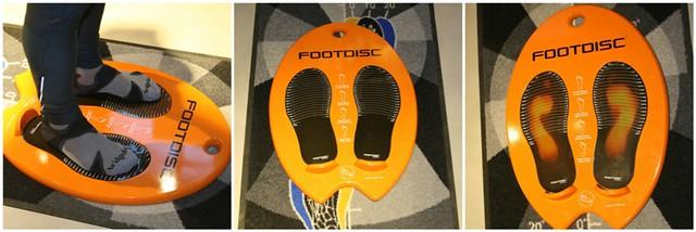 Ο δρομέας πατάει επάνω στο Footdisc. Στην μεσαία φωτογραφία η επιφάνεια πριν το πάτημα και στην δεξιά το θερμικό ίχνος που αφήνει.