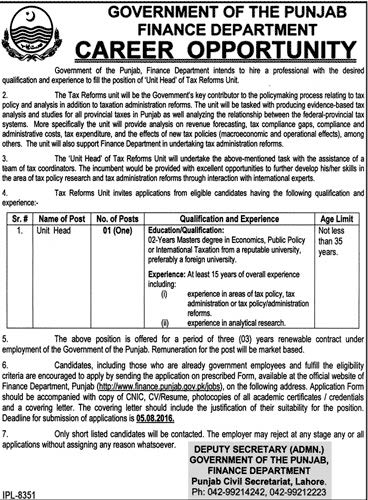 Government of Punjab Finance Department Unit Head Required