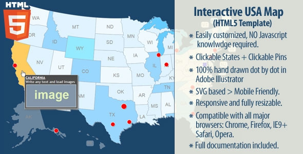 Interactive USA Map v2.0.2 - HTML5