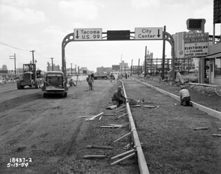 Aurora Avenue under construction, 1954