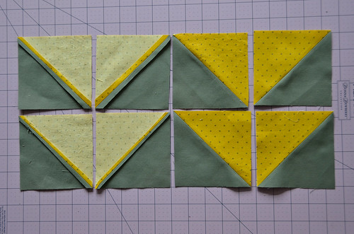 Finished 8 Half Square Triangles