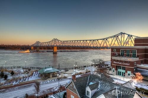 bridge blue winter ice sunrise glover elevated cary barge riverparkcenter smotherspark