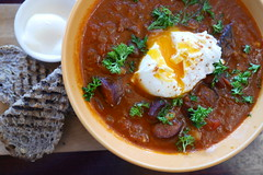 Chorizo Stew w/poached egg